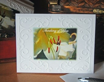Thinking of You Ivory Lily Embossed Photo Cards and Envelopes