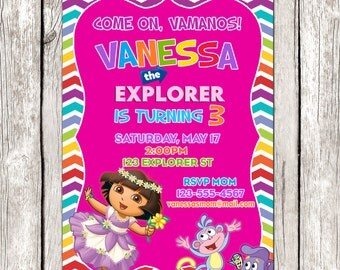 Dora Invitation - Dora the Explorer Birthday Party - Pink Rainbow Invite