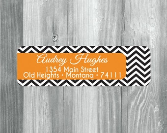 140 Custom Return Address Labels, Return Address Stickers, Mailing Label Stickers, Rectangular Address Labels, Orange Chevron Address Labels