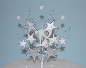 Cake topper stars on wires silver/gold 18th, 21st, 50th birthday wedding anniversary