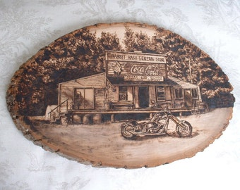 Custom Wood Burning on a plant of wood with any picture/design hand crafted into the wood.