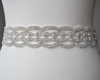 Luxury Crystal Bridal Sash, Wedding Dress Sash Belt,  Rhinestone Sash,  Rhinestone Bridal Bridesmaid Sash Belt, Wedding dress sash 2""