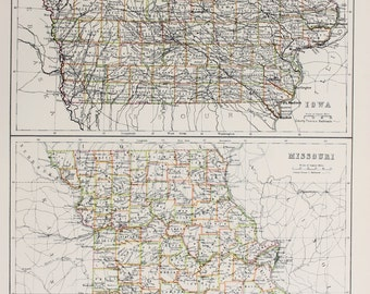 Large 1897 Blacks Antique Map, Colour Map, United States (USA) State and County Map, Iowa & Missouri
