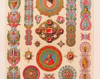 Renaissance Decorative Ornament (Enamelled Jewellery etc) - Chromolithograph Antique Print by Racinet.