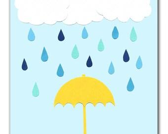 Rainy Day Print, 8x10 or 5x7 Print, Bedroom Print, Kids Art Prints, Bedroom Decor, Kids Room Art, Rain, Clouds, Umbrella, Weather
