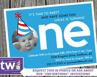 First Birthday Photo Party Invitation, Age 1 Birthday Invitation, 1st birthday Photo Invitation, Custom Digital File, YOU PRINT