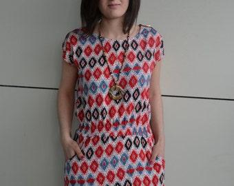 25 % ON SALE Sequin Print Dress, Summer Floral Dress, Zip shoulder, pocket dress