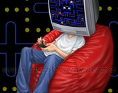 """SIGNED Titled Archival Giclee Fine Art PRINT of ARCADE Video Game illustration Head Games 11""""x 14"""" Wall Decor by Fian Arroyo"""