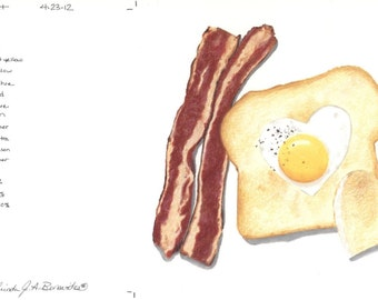 "Bacon, eggs on toast. Photo realistic, illustration, art, drawing, print on archival paper, colored pencils. 6 1/2"" x 6 1/2"". Breakfast."