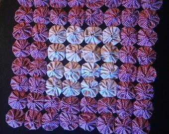Beautiful Handmade Red & Tan Decorative Yoyo Fabric Artwork