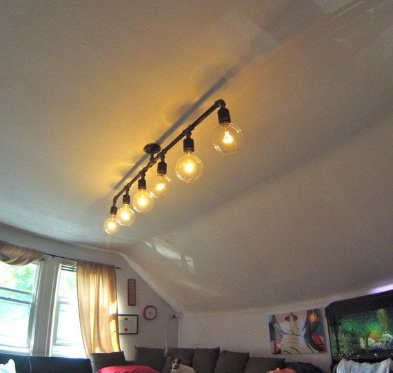 Industrial Pipe Chandelier Light Fixture By PipeAndWoodDesigns
