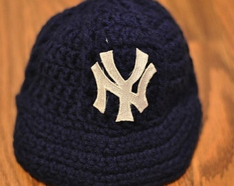 NY Yankees Newborn Crochet Baseball Cap - Photographer Prop