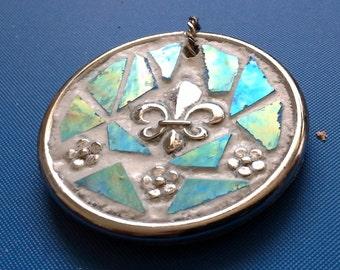 Glass mosaic Fleur de lis pendant