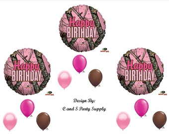 PINK MOSSY OAK Happy Birthday Party Balloons Decorations Supplies Girl Camo Hunt