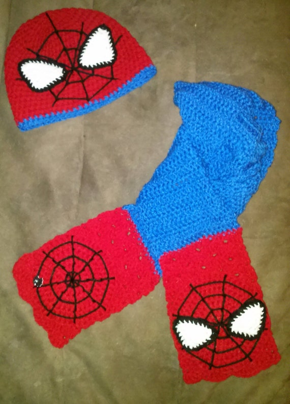 Items similar to Spider-Man Beanie and Scarf Set on Etsy