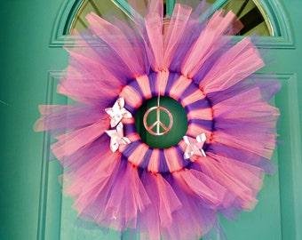 Tutu Wreath, Tulle wreath, Peace wreath, Summer wreaths, Spring wreath, cute girls gift, girls room décor, wreaths, front door, décor