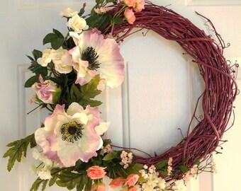 on SALE Summer Wreath, Whimsical Wreath, Pink Raspberry Wreath, Door Wreath, Everyday Wreath, Cottage Wreath, Shabby Chic Wreath