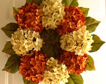Summer Wreath, Wedding Decor, Shabby Outdoor Wedding Flowers, Summer Outdoor Wreaths, Hydrangea Decor