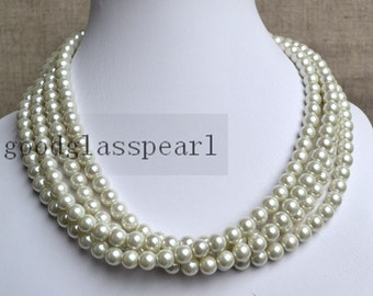 pearl necklace,4-rows pearl necklaces,wedding necklace,bridesmaids necklace,ivory glass pearls necklaces, pearl necklace,necklace,wedding