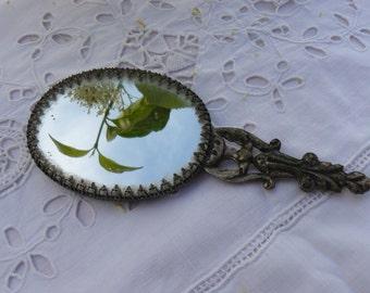 antique bag silver metal mirror