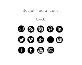 Black Social Media Icons - Instant Download