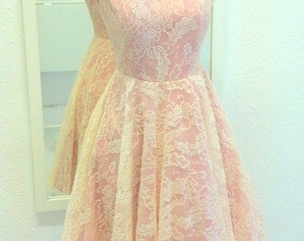 Vintage lace dusky pink dress