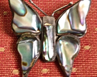 Vintage Mexican Abalone Butterfly Brooch