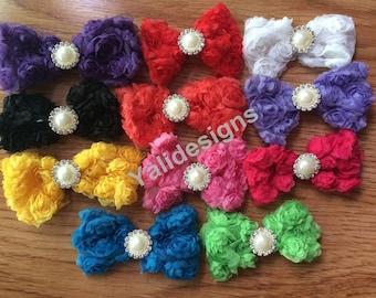 Wholesales 10pcs 3'' inch  Chiffon Bow Brooch- Rose Flower Bow With Rhinestone Button- DIY Headband Accessories YTA22