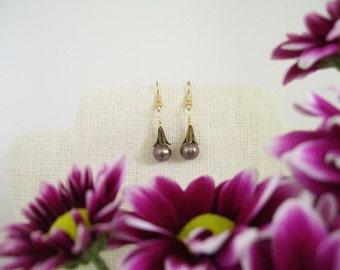 Brown Cultured Pearl Dangle Earrings