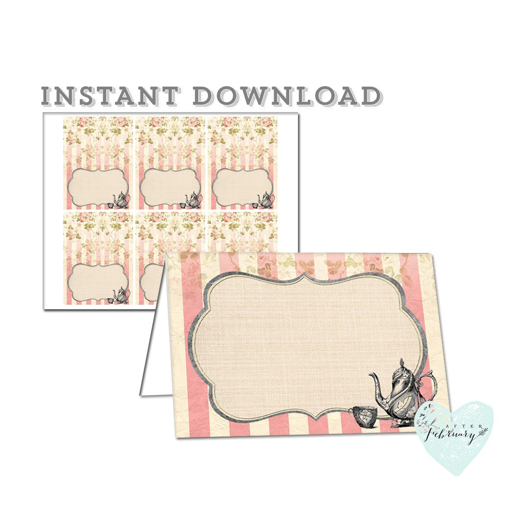 Printable Place Card Folded Tent Card Tea Party Buffet