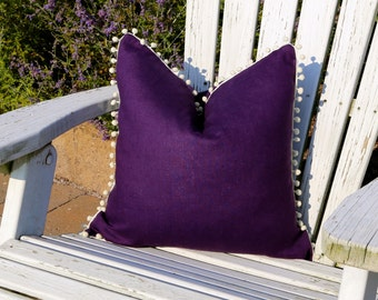 Linen Pillow Cover in Purple with Off White PomPom Trim. 40% OFF