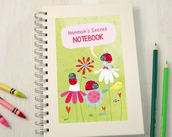 Personalised Girls Ladybirds Notebook