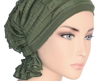 The Abbey Cap® #431 Ruffle Olive Green - Elegant Chemo Turban