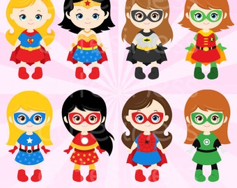 Superhero Girl Digital Clipart, Superhero Girl Clipart, Supergirl Clipart