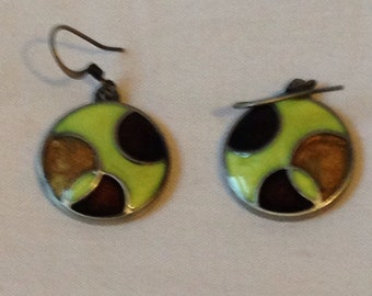 Green and brown vintage enamel earrings