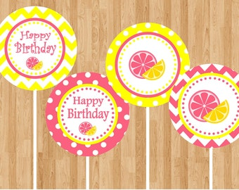 Pink Lemonade Cupcake Toppers - INSTANT DOWNLOAD - DIY Digital Printable File