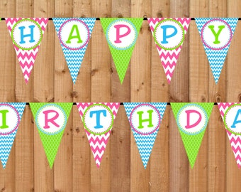 Sweet Shoppe Candyland Happy Birthday Banner- INSTANT DOWNLOAD - Printable Party Decorations, Candy Shoppe