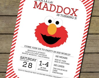 Elmo Invitation | Elmo Invite | Elmo Birthday Party Invitation | Sesame Street Invitation | Sesame Street Birthday Party