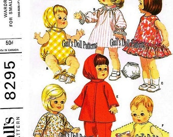 """Small Doll Clothes Pattern to Fit 7"""" to 8-3/4"""" Dolls such as Ginny, Babykin, Ginette, and Suzy Cute."""