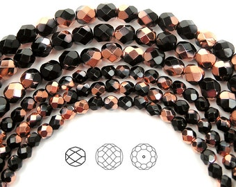 4mm (102pcs) Jet Capri Gold half coated, Czech Fire Polished Round Faceted Glass Beads, 16 inch strand