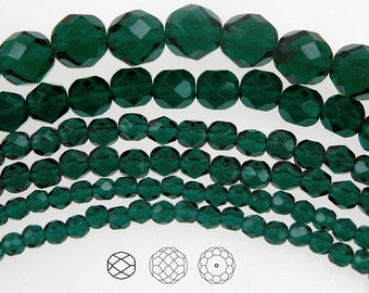 10mm (41pcs) Dark Emerald, Czech Fire Polished Round Faceted Glass Beads, 16 inch strand