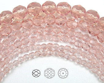 8mm (51pcs) Rosaline, Czech Fire Polished Round Faceted Glass Beads, 16 inch strand