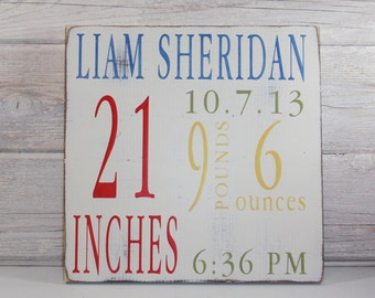 Wood Hand Painted Birth Announcement Sign- Baby Birth Art- Baby Subway Art- Nursery Subway Art- Country Nursery Decor