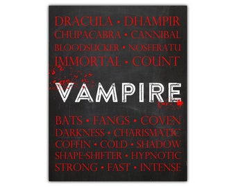 Vampire art - vampire decor - halloween wall decor - gothic art - halloween printable - dracula - nosferatu - halloween art instant download