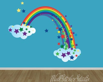 Rainbow Wall Decal, REUSABLE FABRIC DECAL, Rainbow with Stars Wall Sticker Decals, Girls Wall Decal