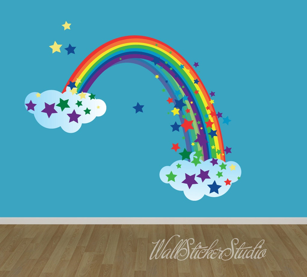 rainbow wall decal reusable fabric decal rainbow with stars zoom