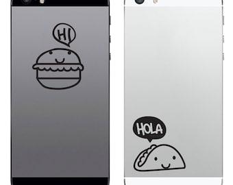 TechTattz Junk Food Junkies Taco and Burger Vinyl Decal Sticker for Phone Tablet Laptop