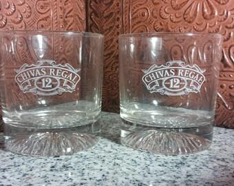 Pair Of Chivas 12 Scotch Rocks Glasses
