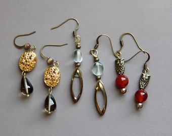 Earring infusion set in antique gold - 3 pairs