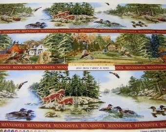 Minnesota Commemorative Stripe Fabric~by the  yard~Farms~Lodge~Cabin~Animals~Lake~Quilting Treasures
